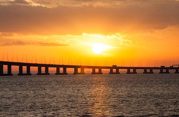 Sunset on bridge